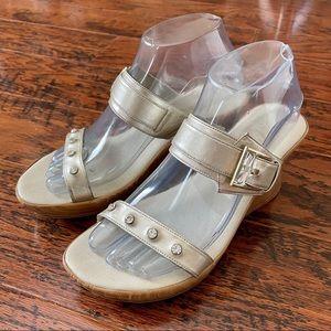 Onex Gold Platform or Wedge Sandals w/Crystals - 9